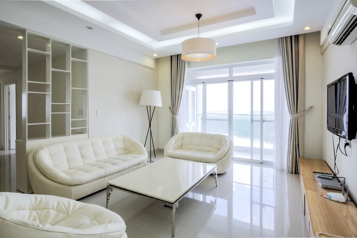 Sofa trang nhã Căn góc tầng cao tháp B Riverside Residence