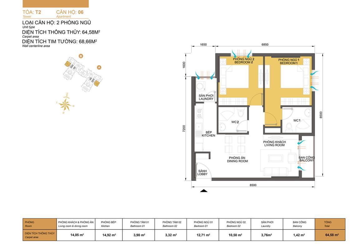 Căn hộ mẫu 64,58m2 2 phòng ngủ T2 Masteri Thảo Điền Căn hộ tầng cao T2B Masteri Thảo Điền