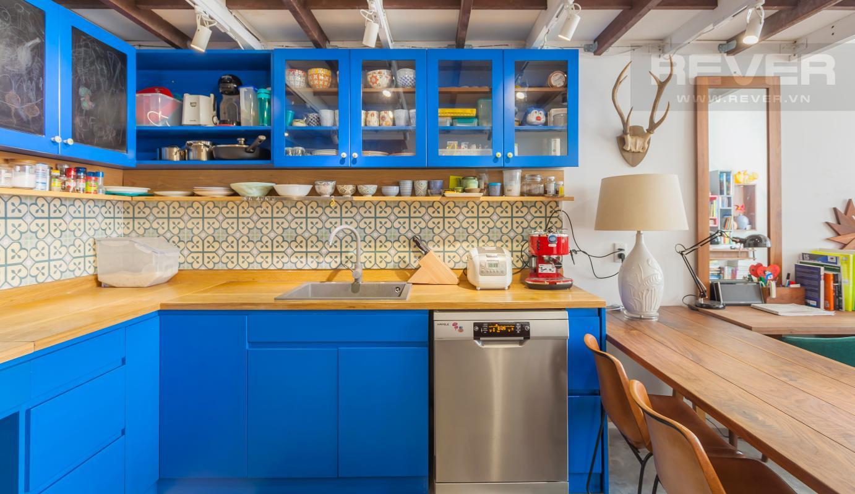 Phòng bếp đầy đủ thiết bị hiện đại Căn hộ officetel LE Lexington nội thất độc đáo, có gác lửng