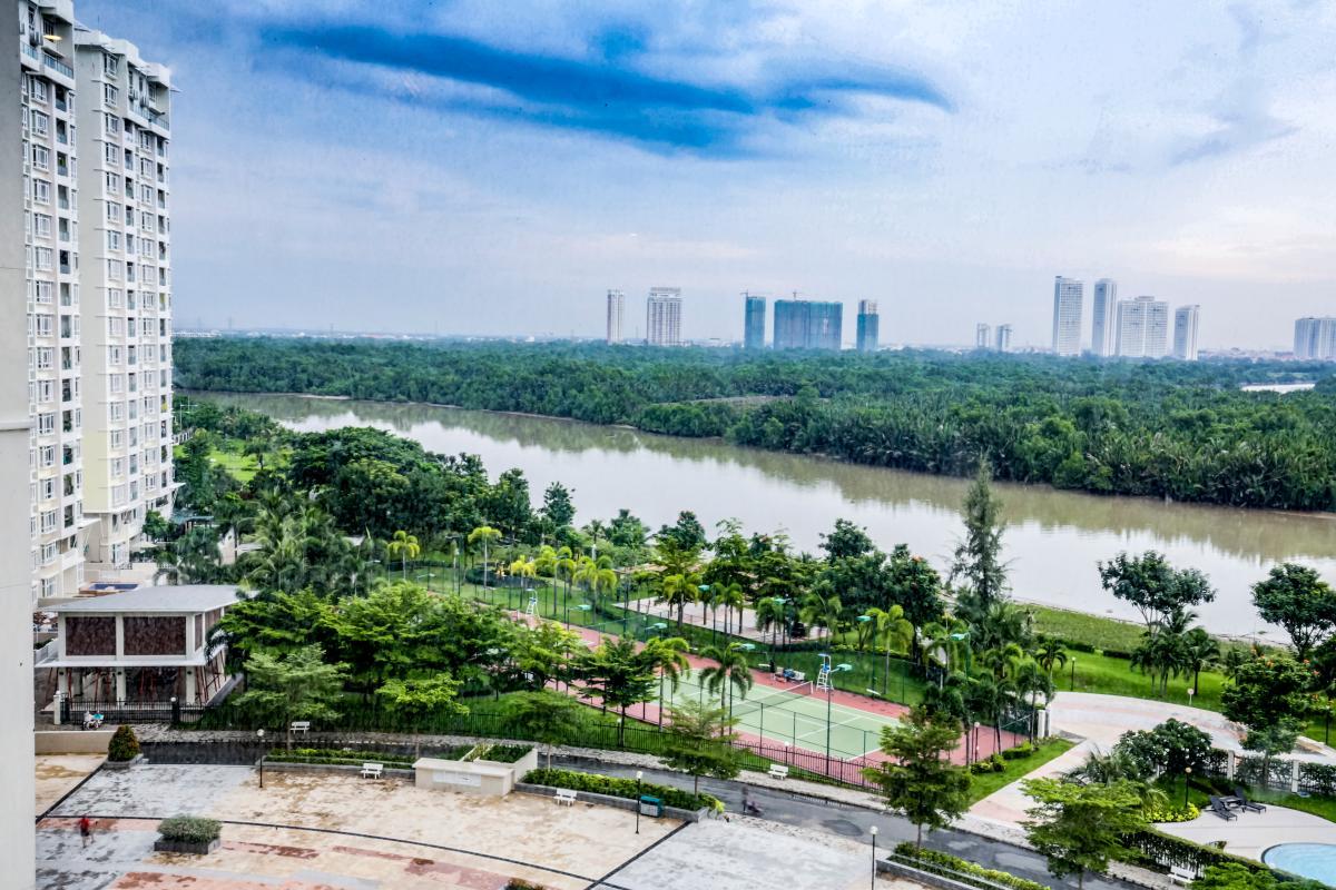 View toàn cảnh từ căn hộ Căn góc hướng Tây Nam tháp D Riverside Residence