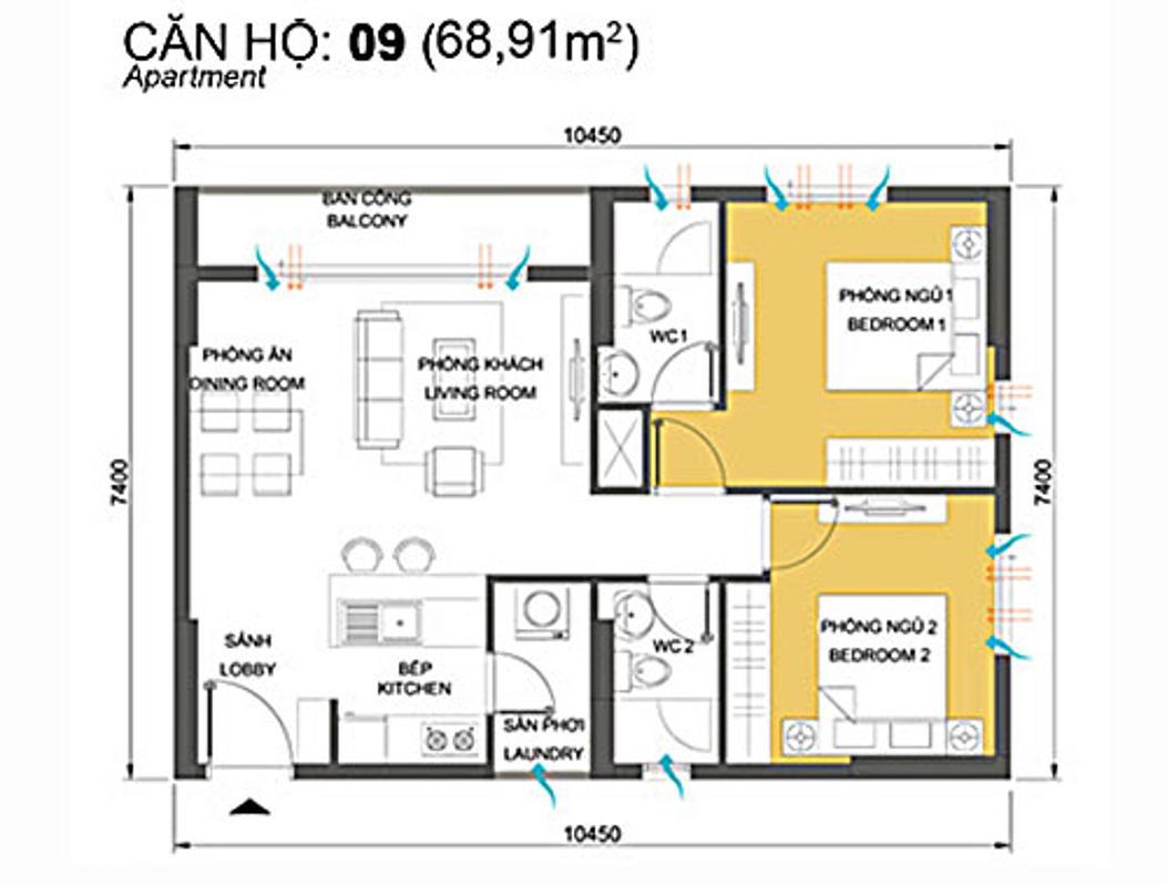 Bản vẽ căn góc 68,91m2 2 phòng ngủ Căn góc tầng cao T4A Masteri Thảo Điền