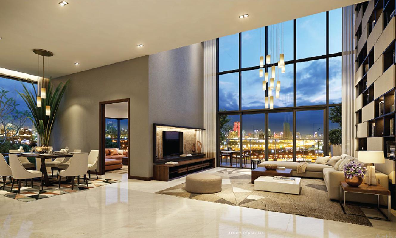 Gateway Thảo Điền - Phòng khách căn duplex - penthouse mẫu