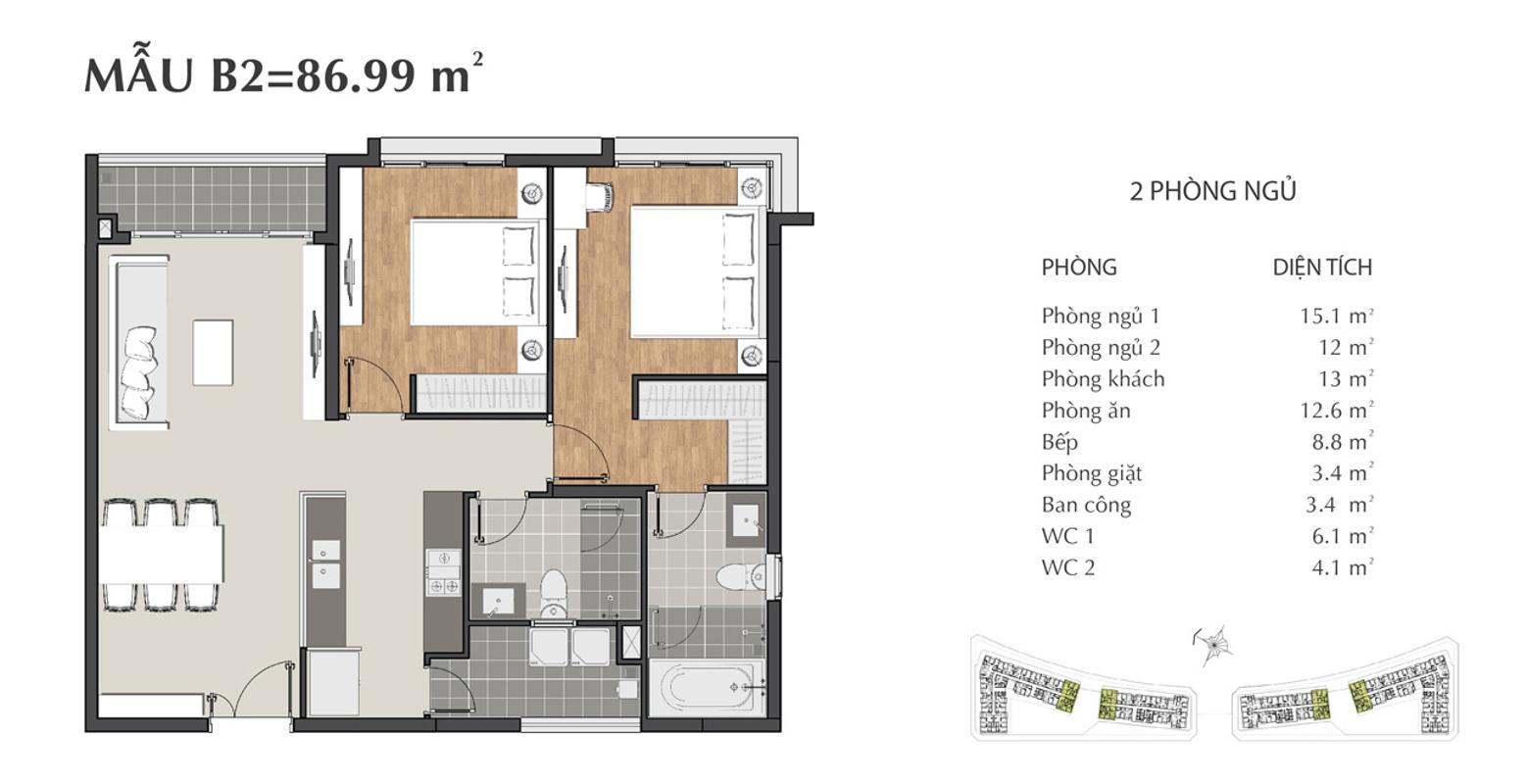 Căn hộ 2 phòng ngủ Sarimi B2 Bán căn hộ Sarimi Sala Đại Quang Minh 87m2, 2PN 2WC, nội thất tiện nghi