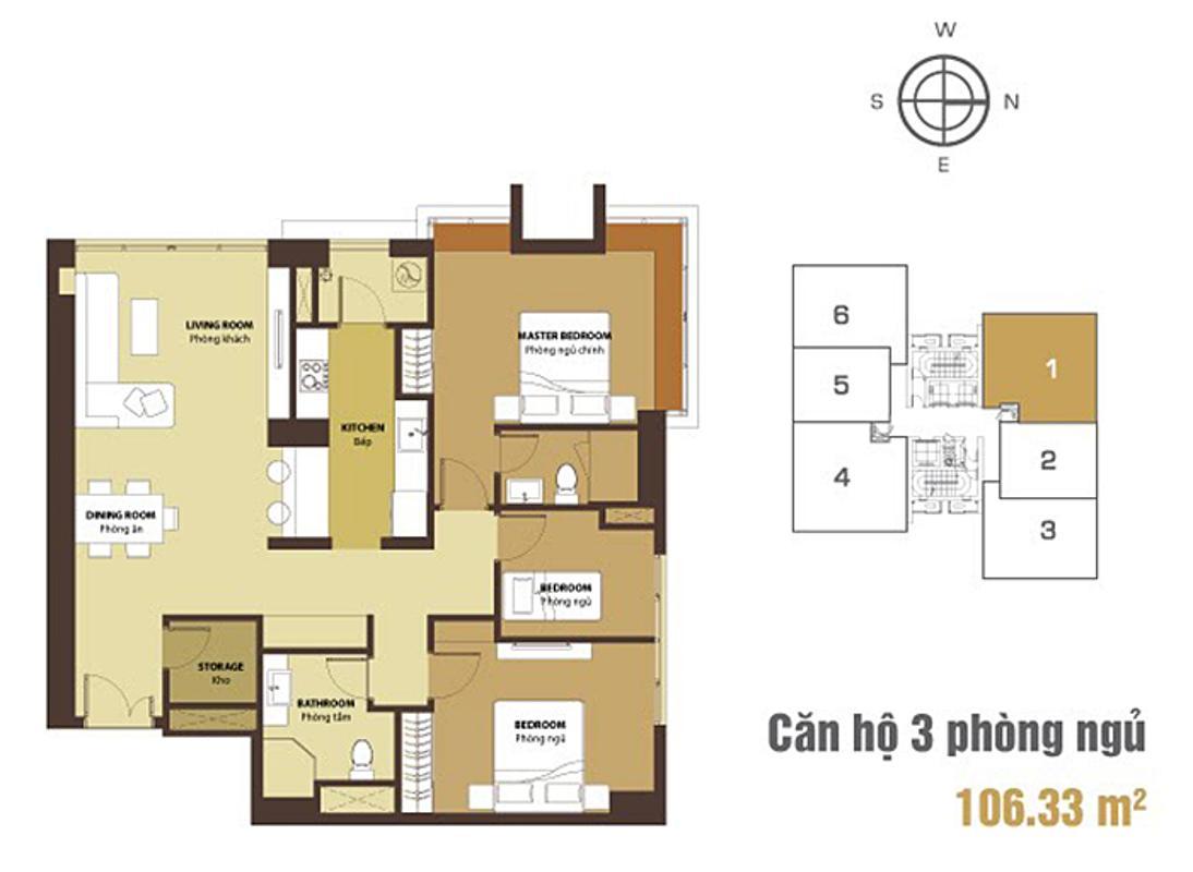 Mặt bằng căn hộ 3 phòng ngủ V4-01 Căn góc Sunrise City tầng cao tháp V4 hướng Tây Nam, 3 phòng ngủ