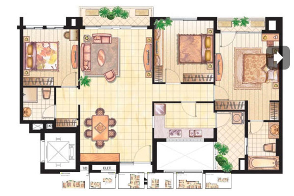 Bản vẽ căn hộ 120m2 3 phòng ngủ Cảnh Viên 2 Căn hộ 3 phòng ngủ B Cảnh Viên 2