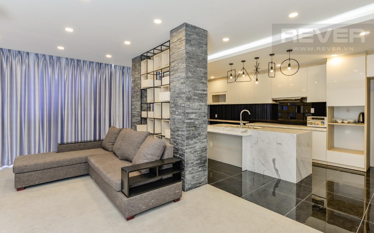 Phòng khách và phòng bếp của phòng 91m2 M & T Building cho thuê phòng đủ nội thất, nhiều diện tích sử dụng
