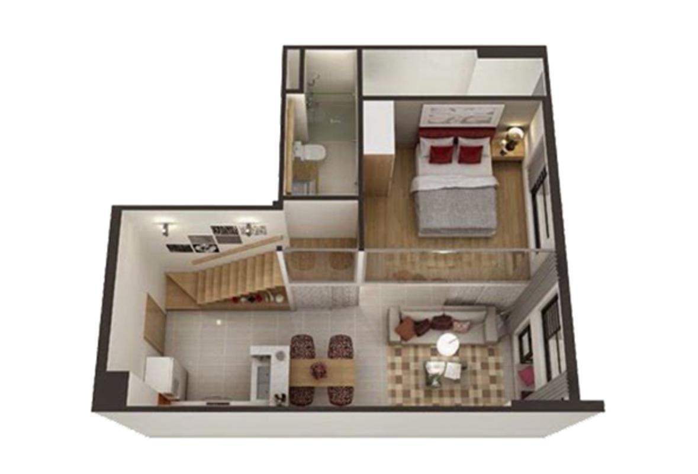 Căn hộ 2 phòng ngủ có lửng Lofthouse tầng cao hướng Đông tháp B La Astoria