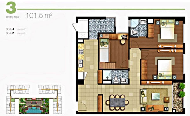 Căn hộ mẫu 101.5m2 3 phòng ngủ LA Lexington Căn hộ hướng Bắc tầng cao LA Lexington Residence