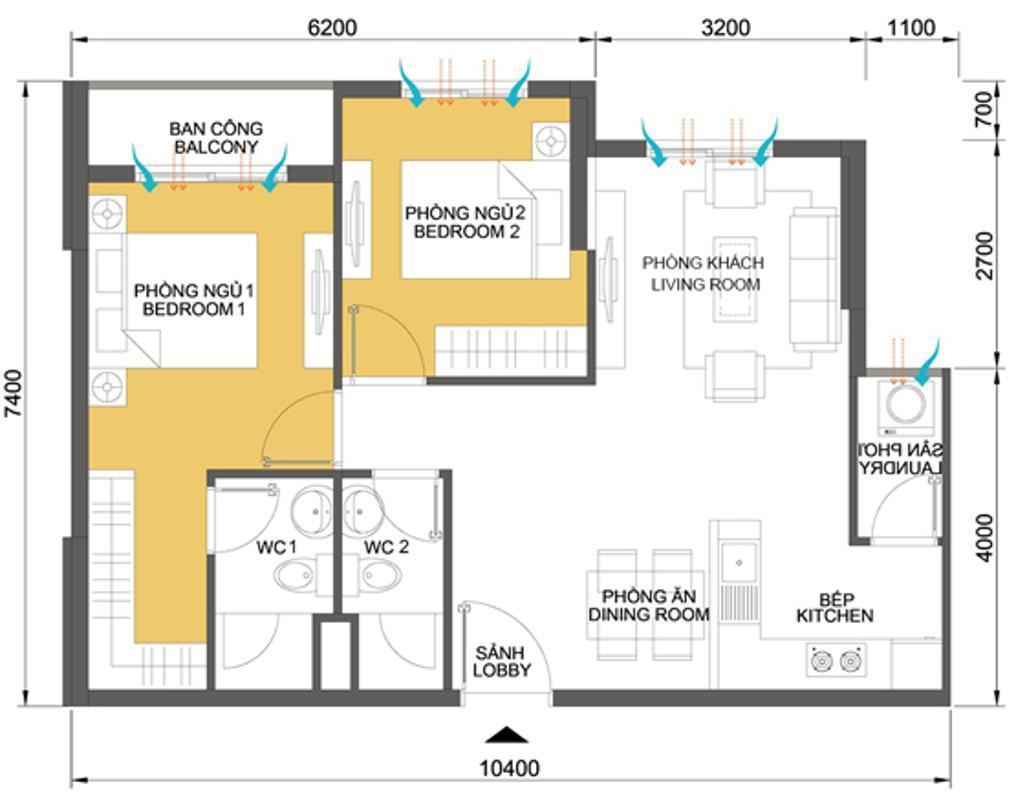 Căn hộ 64,43m2 2 phòng ngủ T4A Căn hộ hướng Tây Nam 2 phòng ngủ tầng cao T4A Masteri Thảo Điền