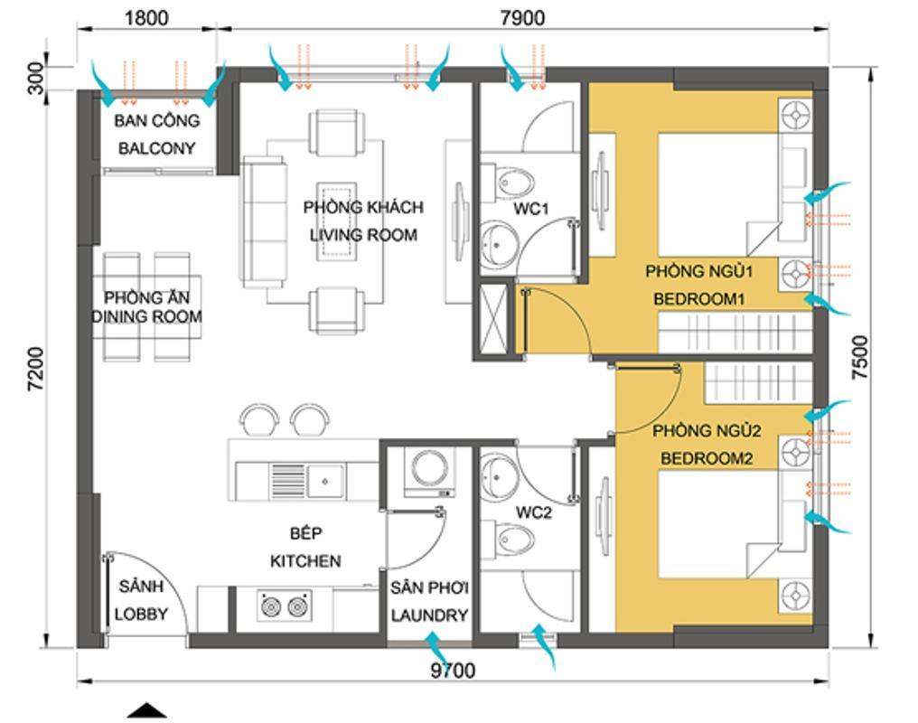 Căn hộ 2 phòng ngủ 64.44m2 T3-06B.jpg Căn hộ tầng cao T3B Masteri Thảo Điền