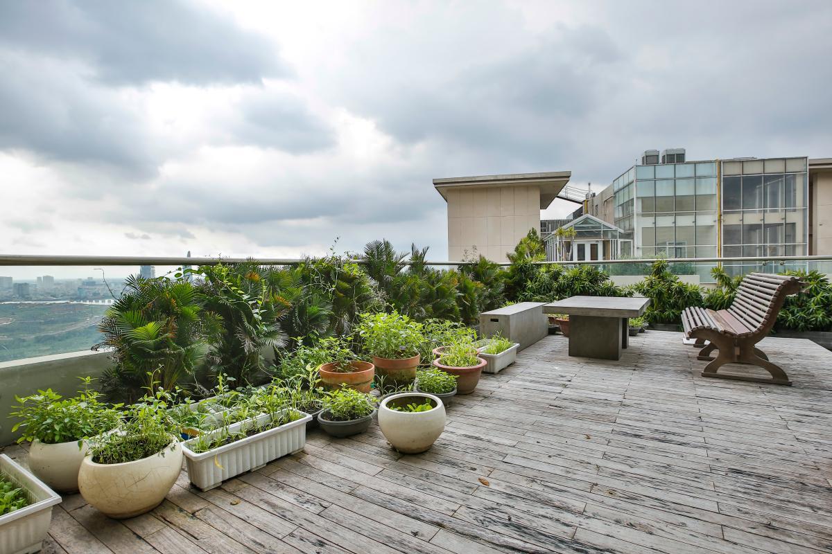 Sân vườn Penthouse hướng Nam Sapphire 1 Sài Gòn Pearl