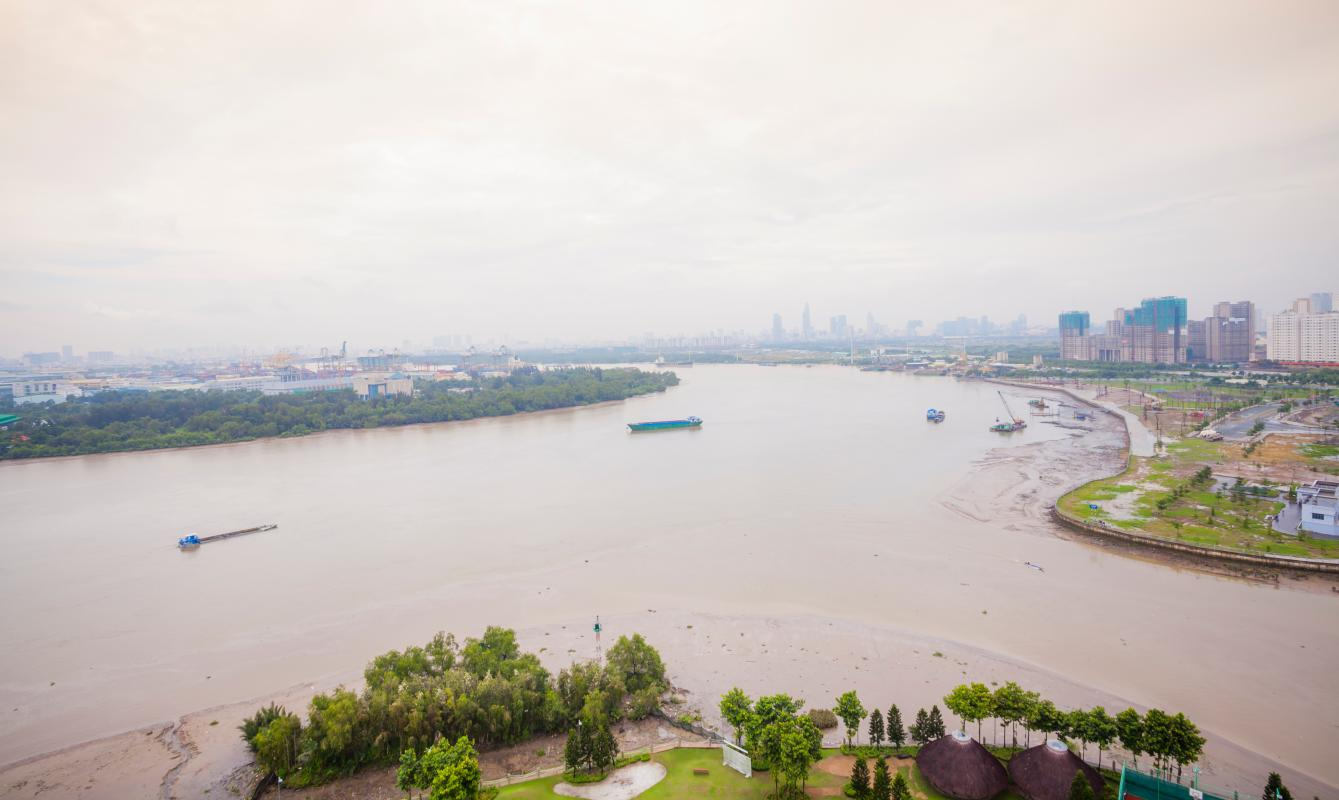View sông Sài Gòn Căn góc tầng cao Tower 3 Brilliant Đảo Kim Cương