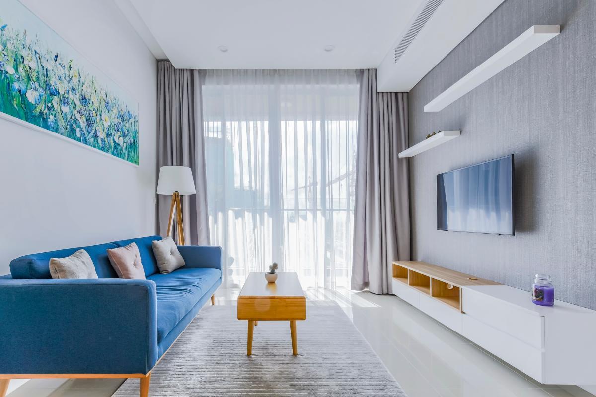 Phòng khách với thiết kế nội thất tối giản hiện đại Bán căn hộ Sarimi Sala Đại Quang Minh 87m2, 2PN 2WC, nội thất tiện nghi