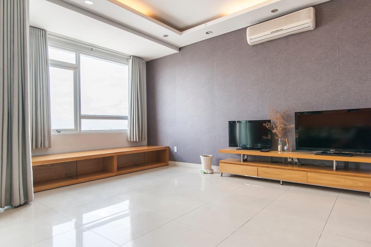 Tủ kệ TV và ghế ngồi thư giãn Căn góc tầng cao B Satra Eximland