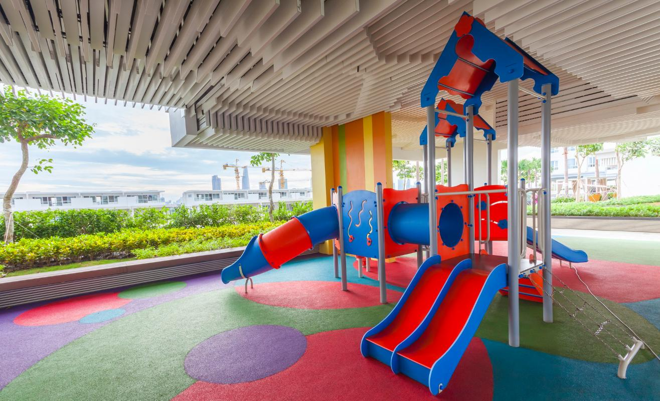 Khu vui chơi trẻ em trong nhà Căn hộ Sarimi tầng thấp A2, hướng Đông Bắc nhìn ra công viên