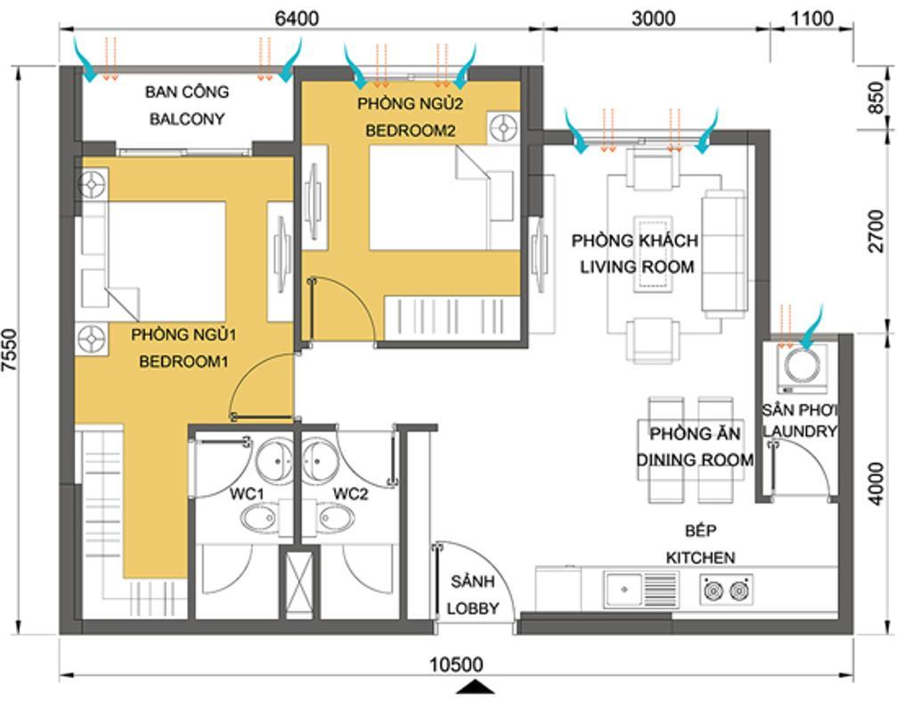 Căn hộ 2 phòng ngủ 64.64m2 T3A Materi Thảo Điền Căn hộ tầng thấp hướng Tây Nam T3A Masteri Thảo Điền
