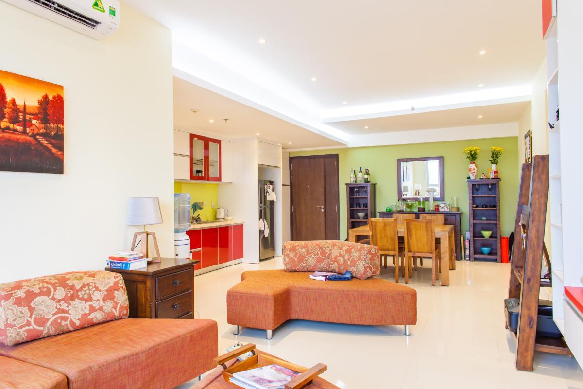 Phòng khách tích hợp phòng bếp Căn hộ tầng cao tháp TC1 Tropic Garden