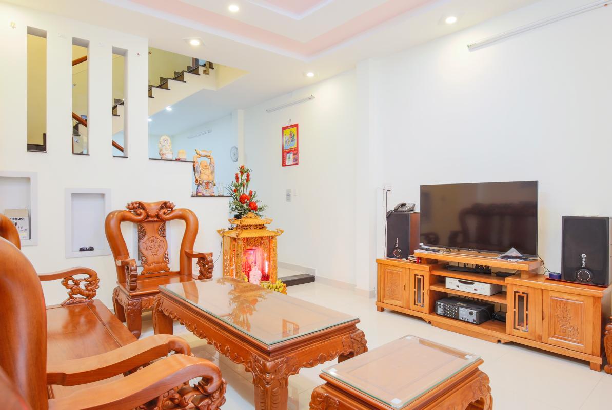 Phòng khách Nhà phố Nguyễn Khoái 4 tầng kiên cố