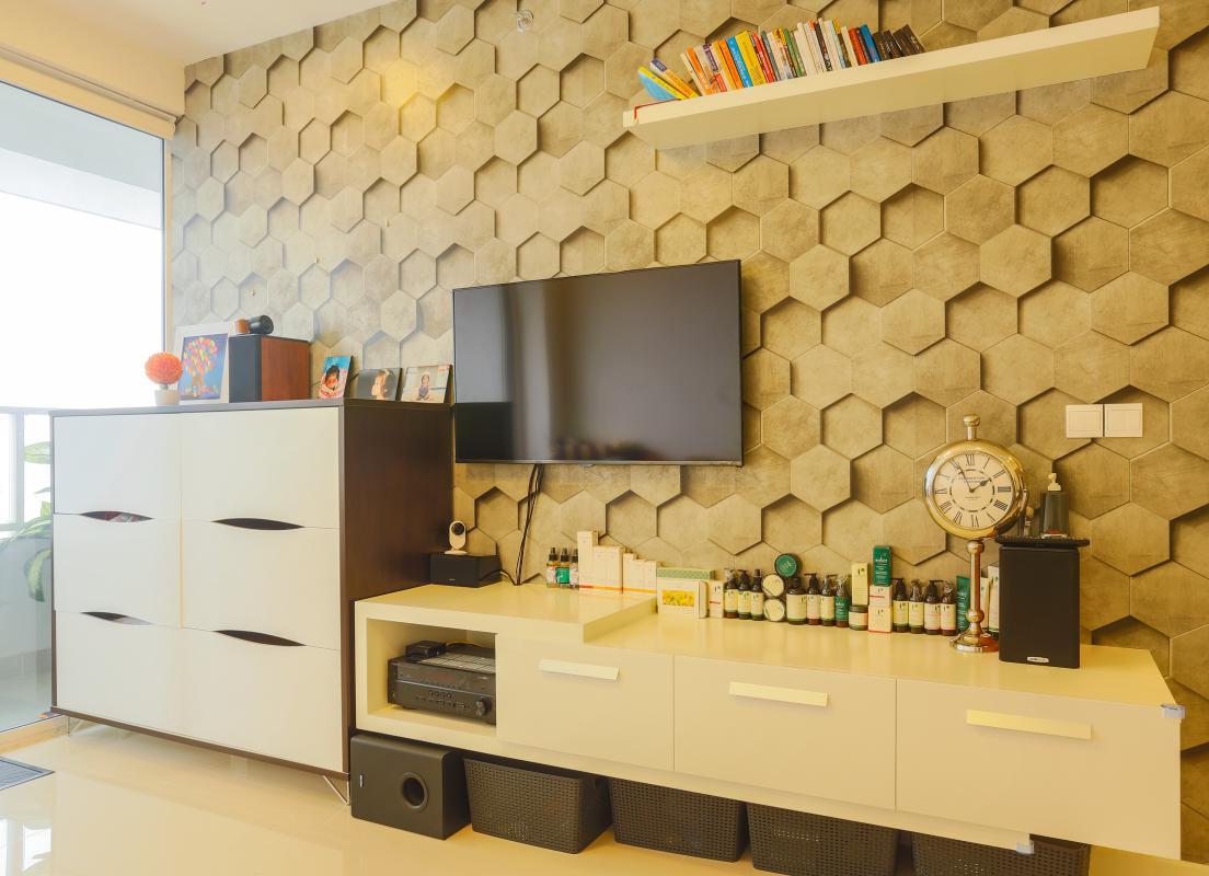 Nột thất Phòng khách Căn hộ tầng cao Sunrise City độc đáo với những họa tiết 3D