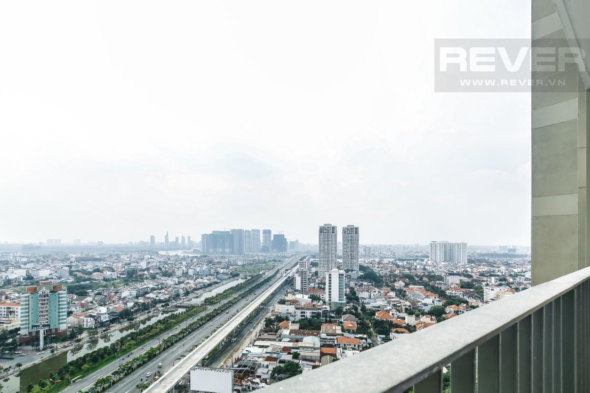 View từ ban công phòng khách Căn góc tầng cao T1A Masteri Thảo Điền