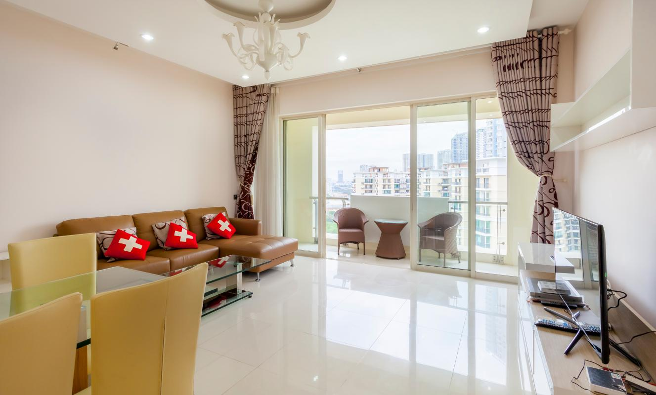 Ghế sofa sang trọng nơi phòng khách Cho thuê căn hộ tầng cao 3A The Estella An Phú