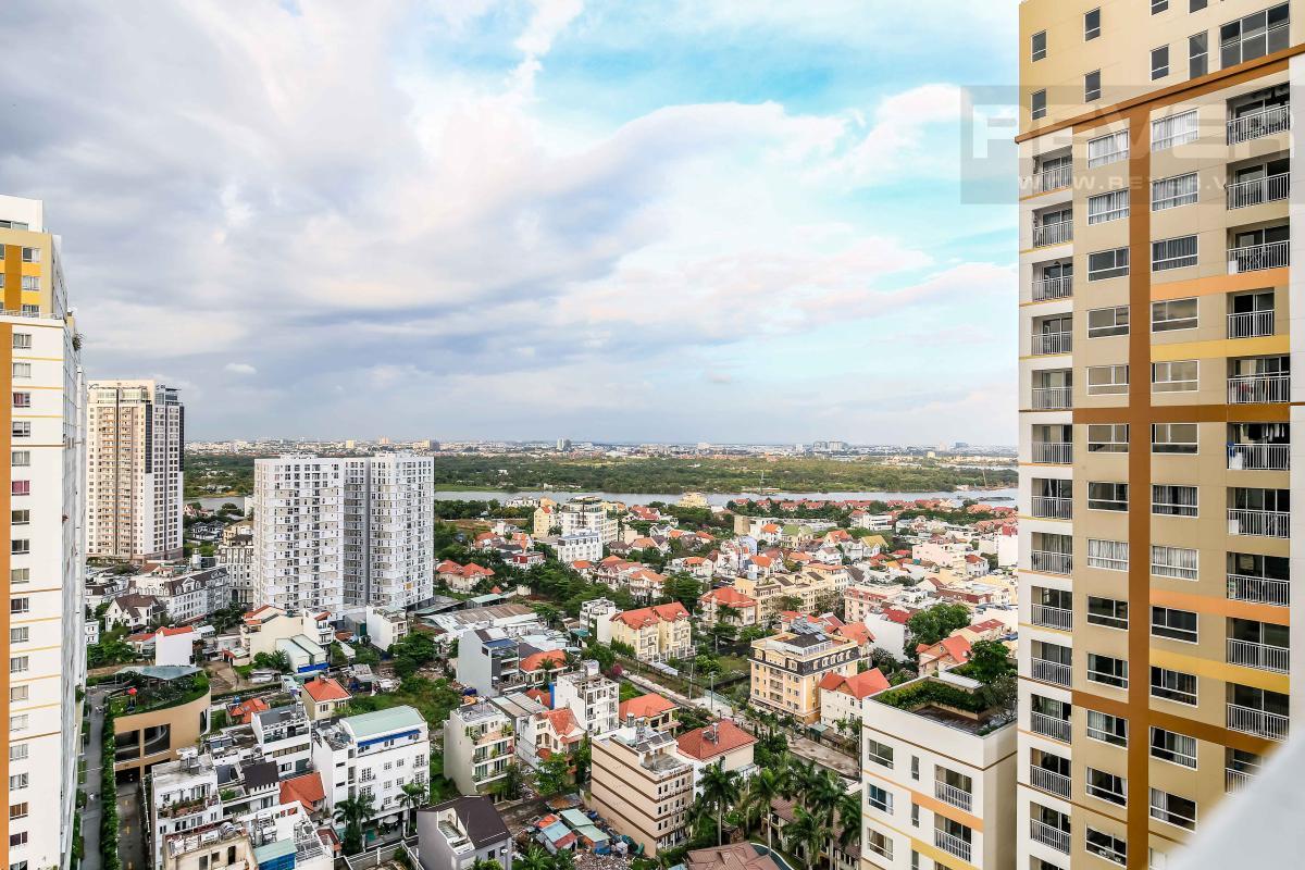 View toàn cảnh từ phòng ngủ Căn góc hướng Tây Nam tầng cao tháp A1 Tropic Garden