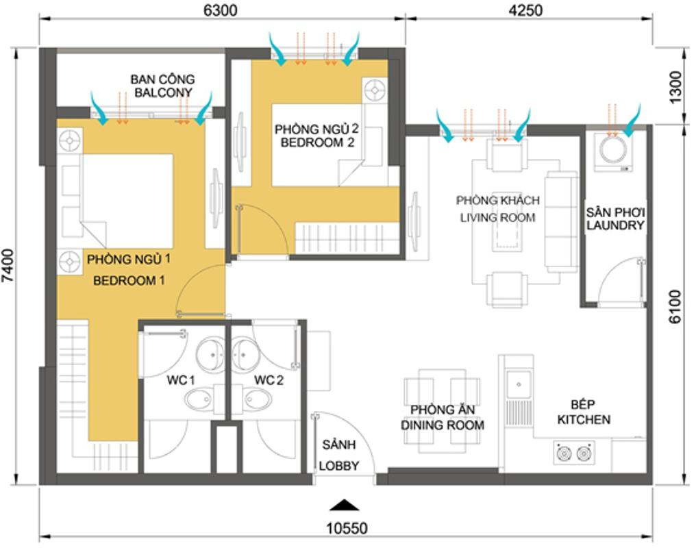 Căn hộ 2 phòng ngủ 65.21m2 T4B Căn hộ tầng cao 2 phòng ngủ T4B Masteri Thảo Điền