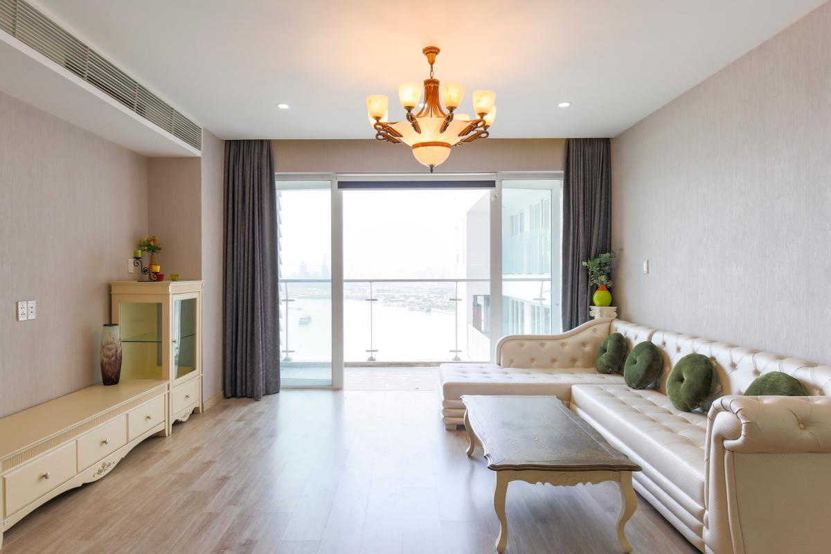 Phòng khách view sông sang trọng Căn góc tầng cao Tower 3 Brilliant