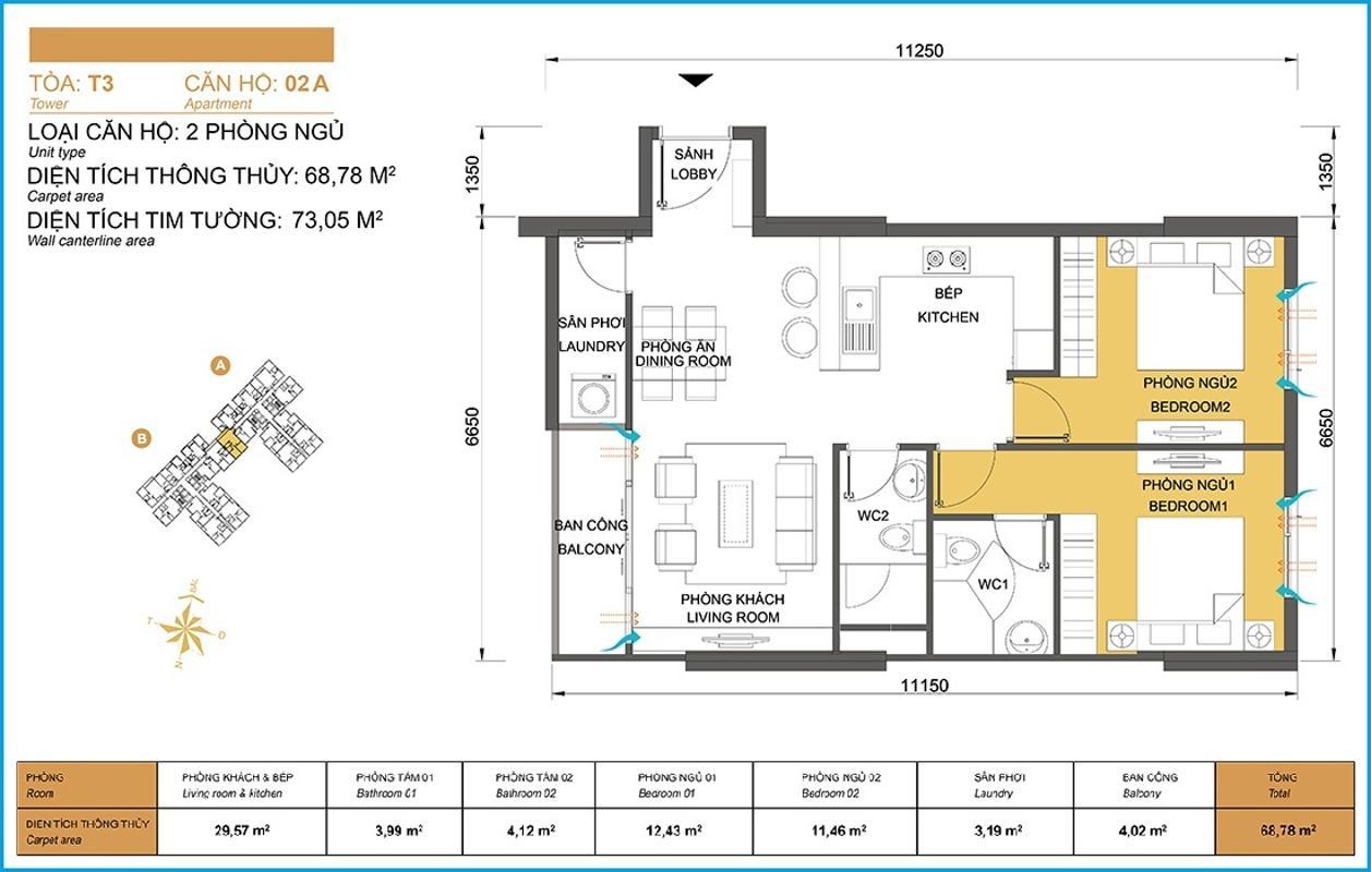 Căn hộ mẫu 68,78m2 2 phòng ngủ T3 Căn hộ hướng Tây Bắc 2 phòng ngủ T3A Masteri Thảo Điền