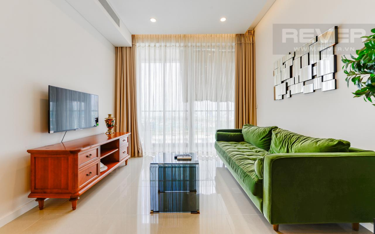 Không gian phòng khách thoáng đãng Căn hộ A1 Sarimi hai phòng ngủ, nhìn về trung tâm thành phố