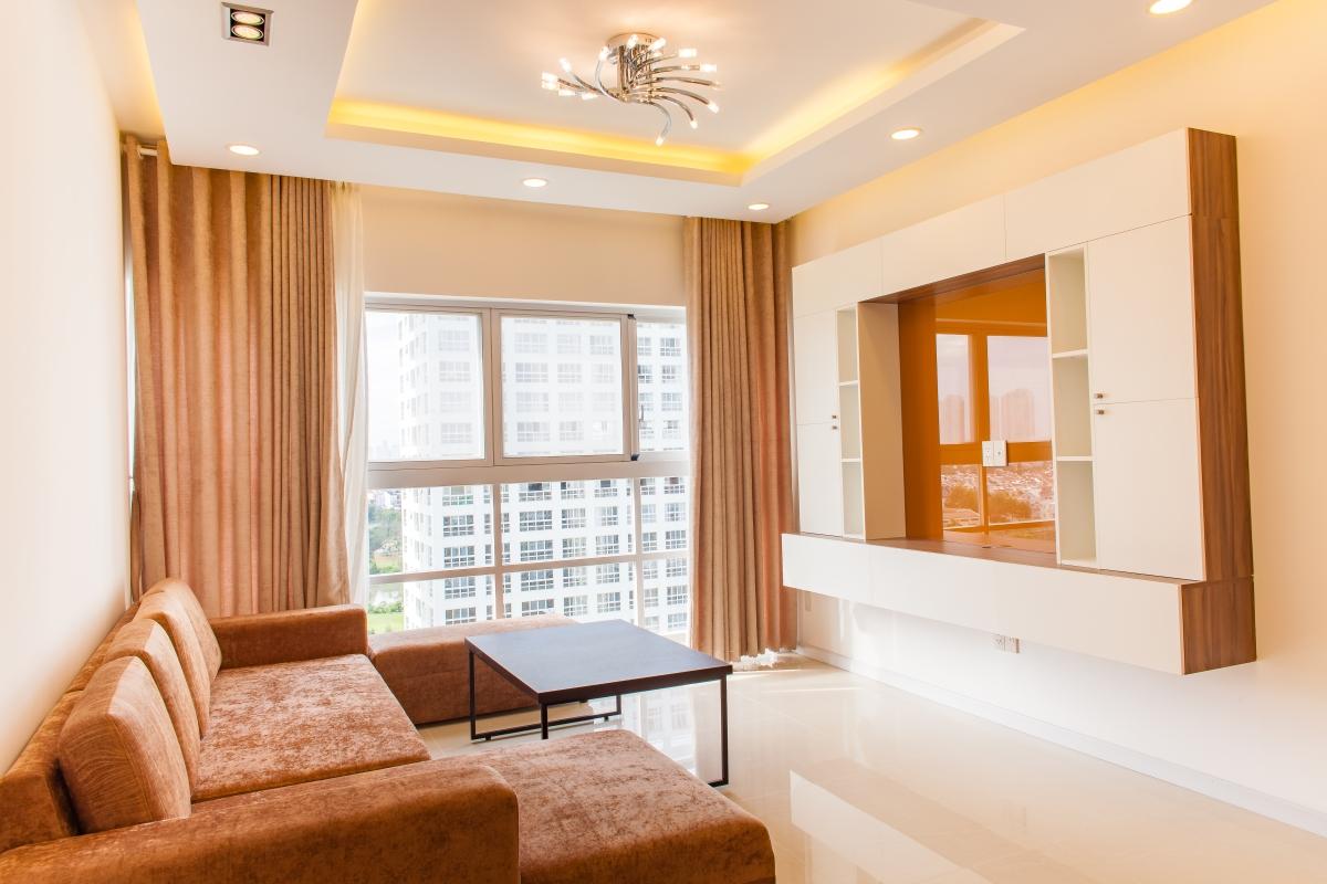 Phòng khách được thiết kế nội thất tối giản Căn hộ tầng cao tháp L Happy Valley