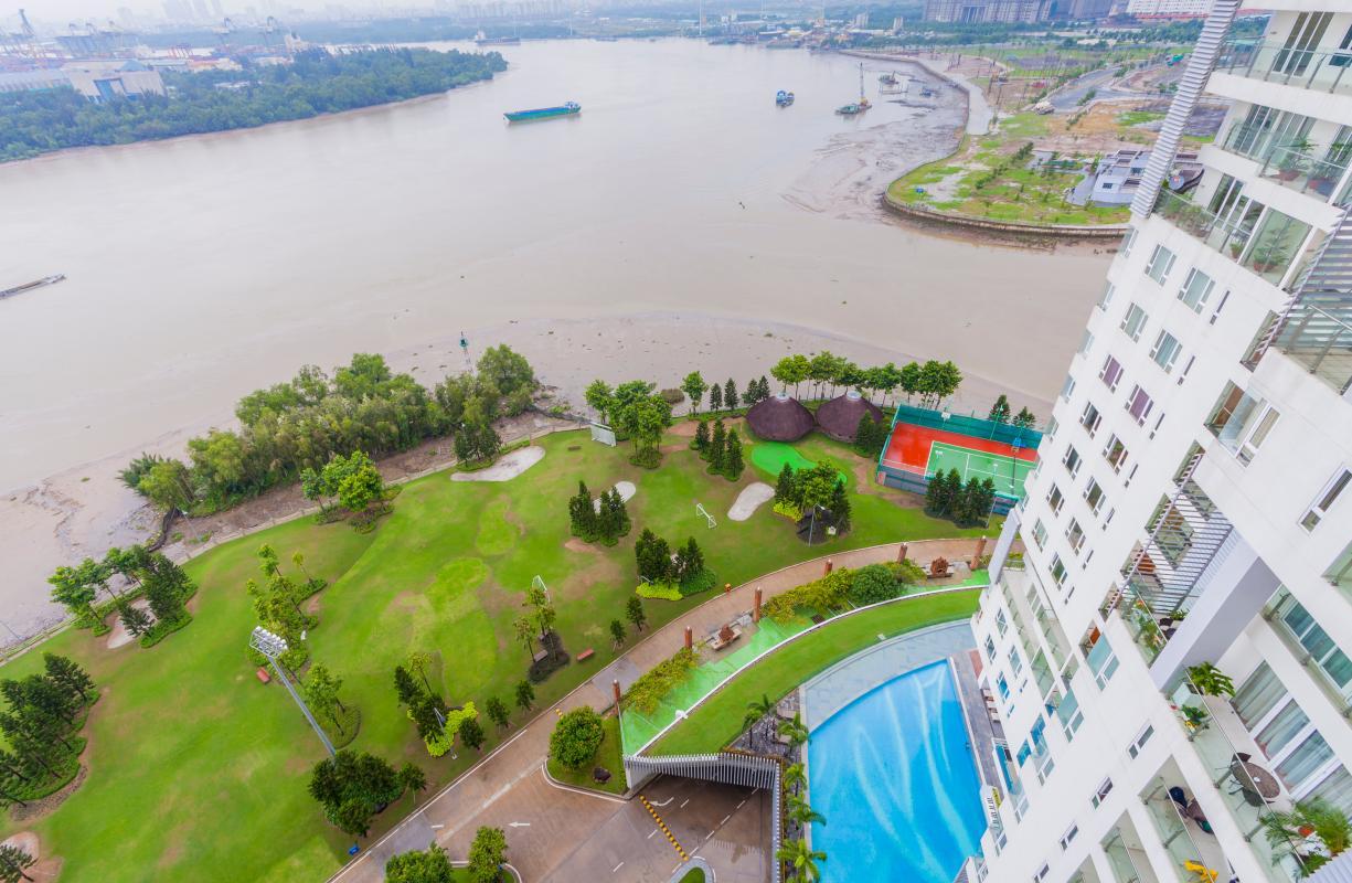 View nội khu và sông Sài Gòn Căn góc tầng cao Tower 3 Brilliant Đảo Kim Cương