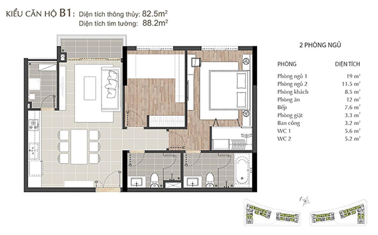 Mặt bằng căn hộ 2 phòng ngủ Sarimi A2-10 Căn hộ Sarimi tầng thấp A2, hướng Đông Bắc nhìn ra công viên