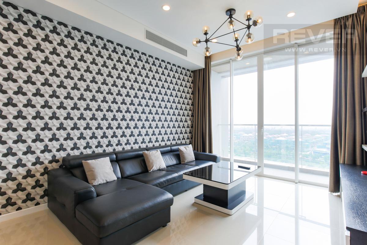 Phòng khách sang trọng và hiện đại Căn hộ Sarimi tầng thấp B1 hướng  Tây Nam, 3 phòng ngủ