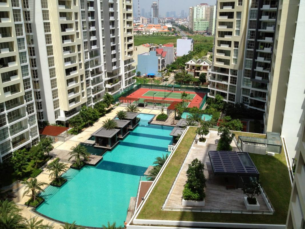 View nội khu từ căn hộ Cho thuê căn hộ tầng cao 3A The Estella An Phú