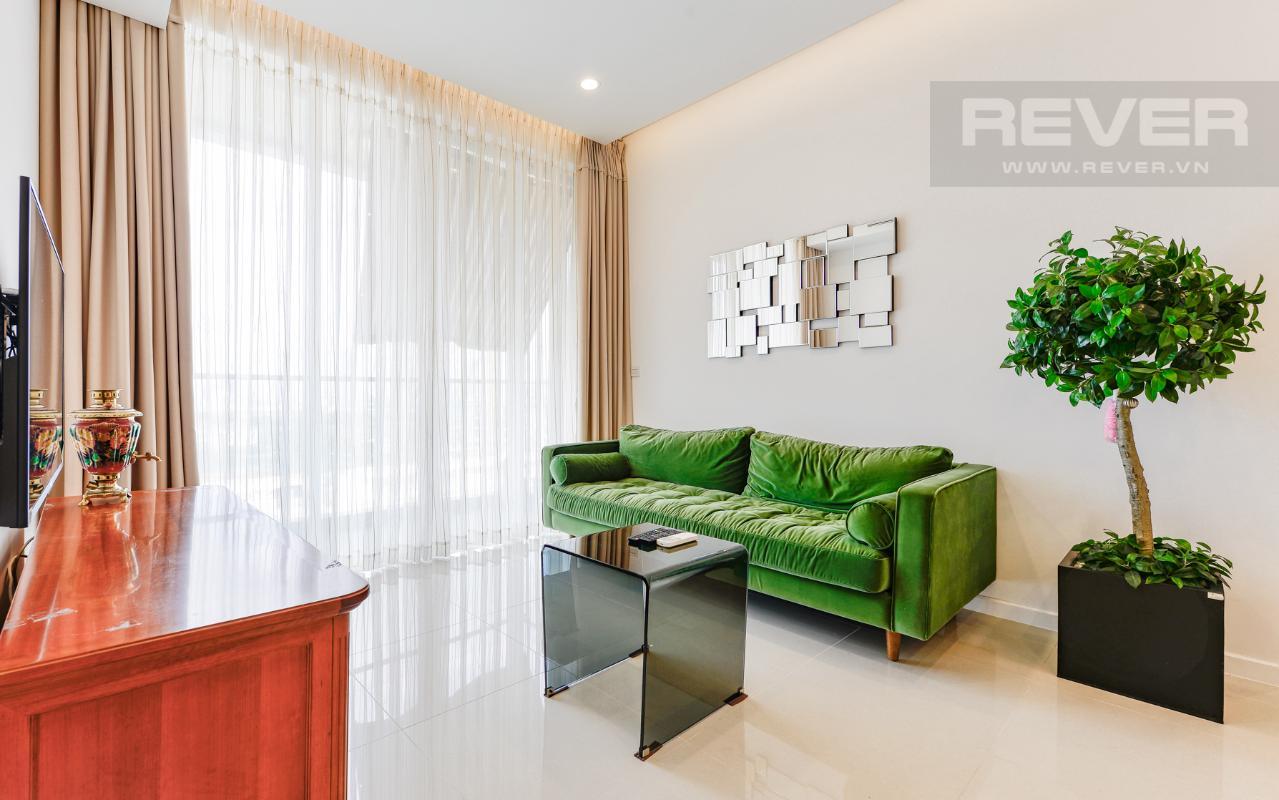 Bộ sofa kiểu dáng hiện đại, đơn giản nhưng khá nổi bật Căn hộ A1 Sarimi hai phòng ngủ, nhìn về trung tâm thành phố