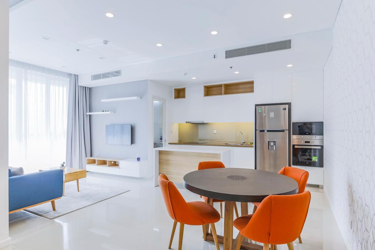 Không gian sinh hoạt chung với thiết kế mở Bán căn hộ Sarimi Sala Đại Quang Minh 87m2, 2PN 2WC, nội thất tiện nghi