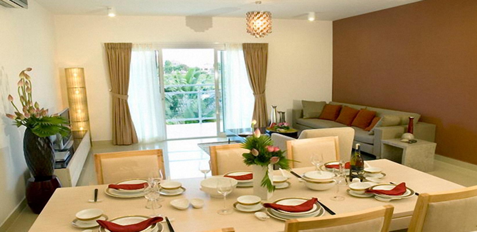 River Garden - Phòng khách kết hợp phòng ăn căn hộ mẫu