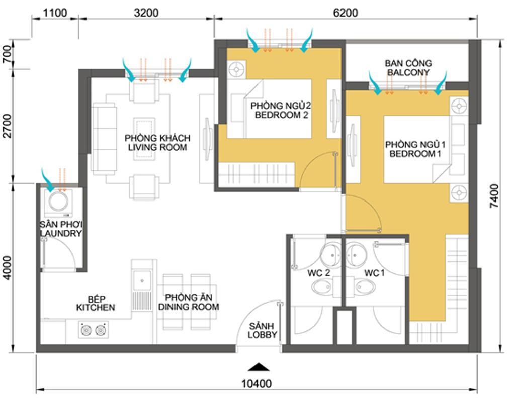 Mặt bằng căn hộ 2 phòng ngủ T4B-10 Căn hộ Masteri Thảo Điền tầng cao T4B 2 phòng ngủ nội thất đầy đủ