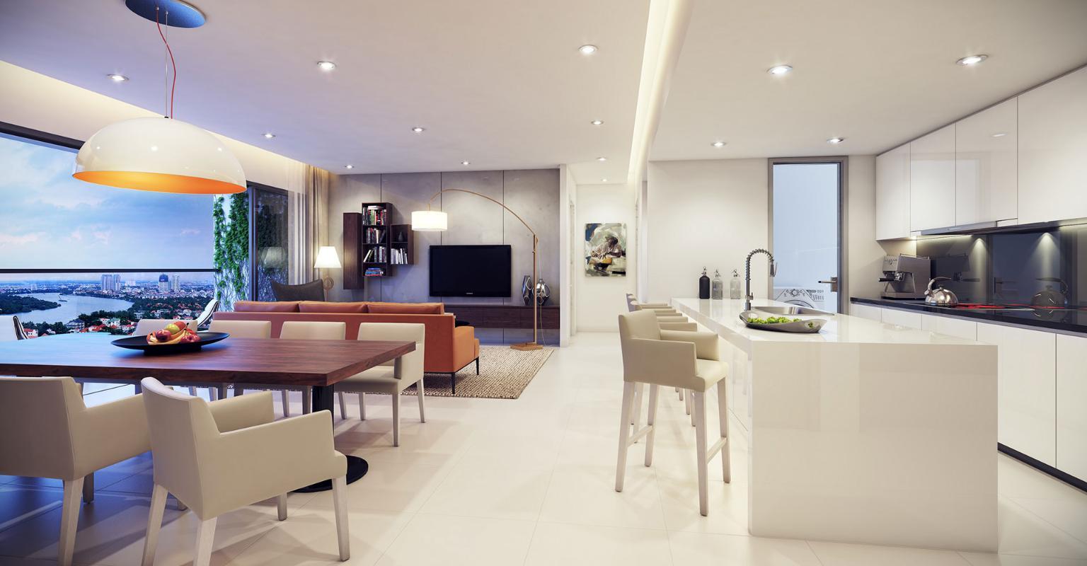 Preche Thảo Điền - Phòng khách kết hợp phòng bếp và phòng ăn