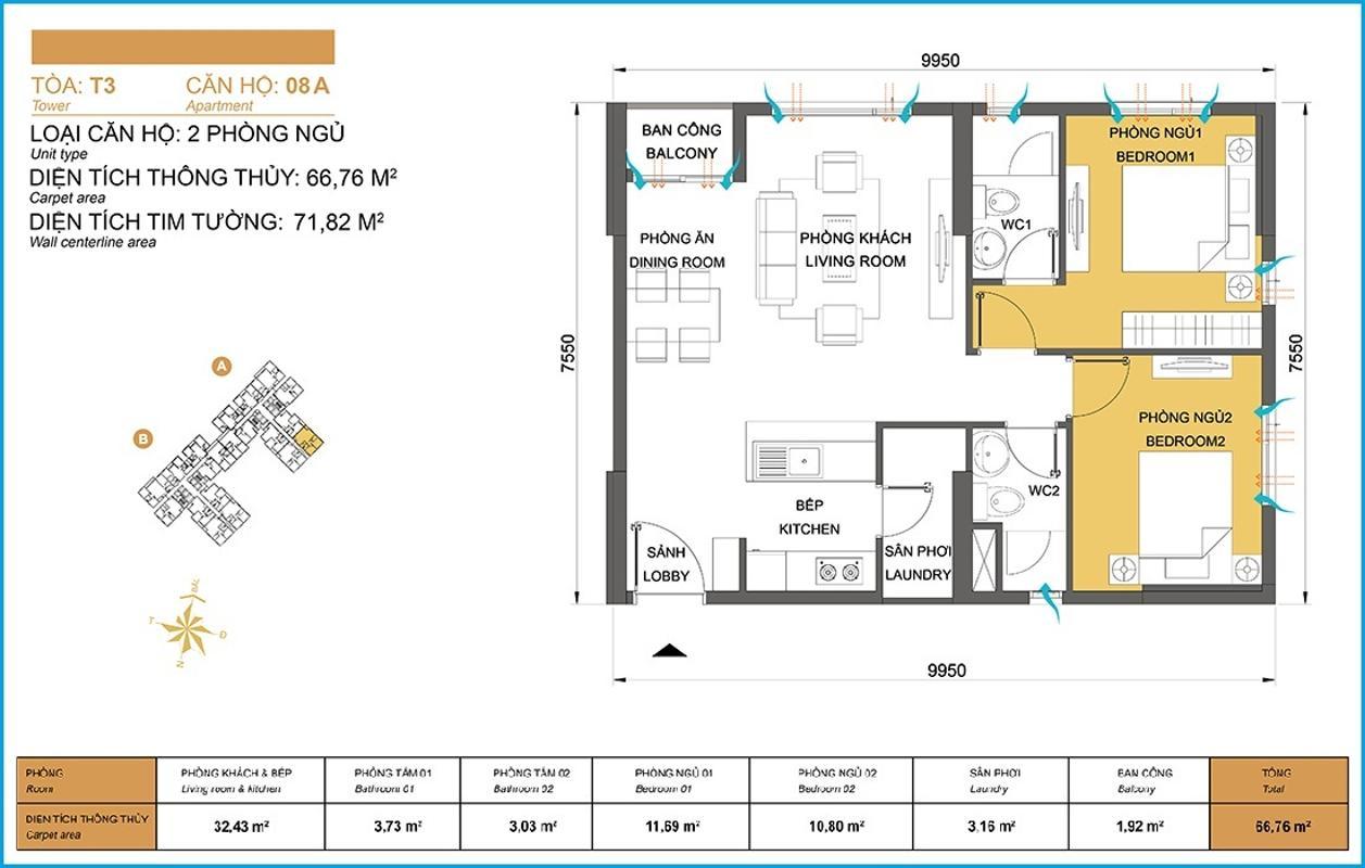Bản vẽ căn hộ mẫu 66,76m2 tháp T3A Masteri Thảo Điền Căn góc tầng cao T3A Masteri Thảo Điền