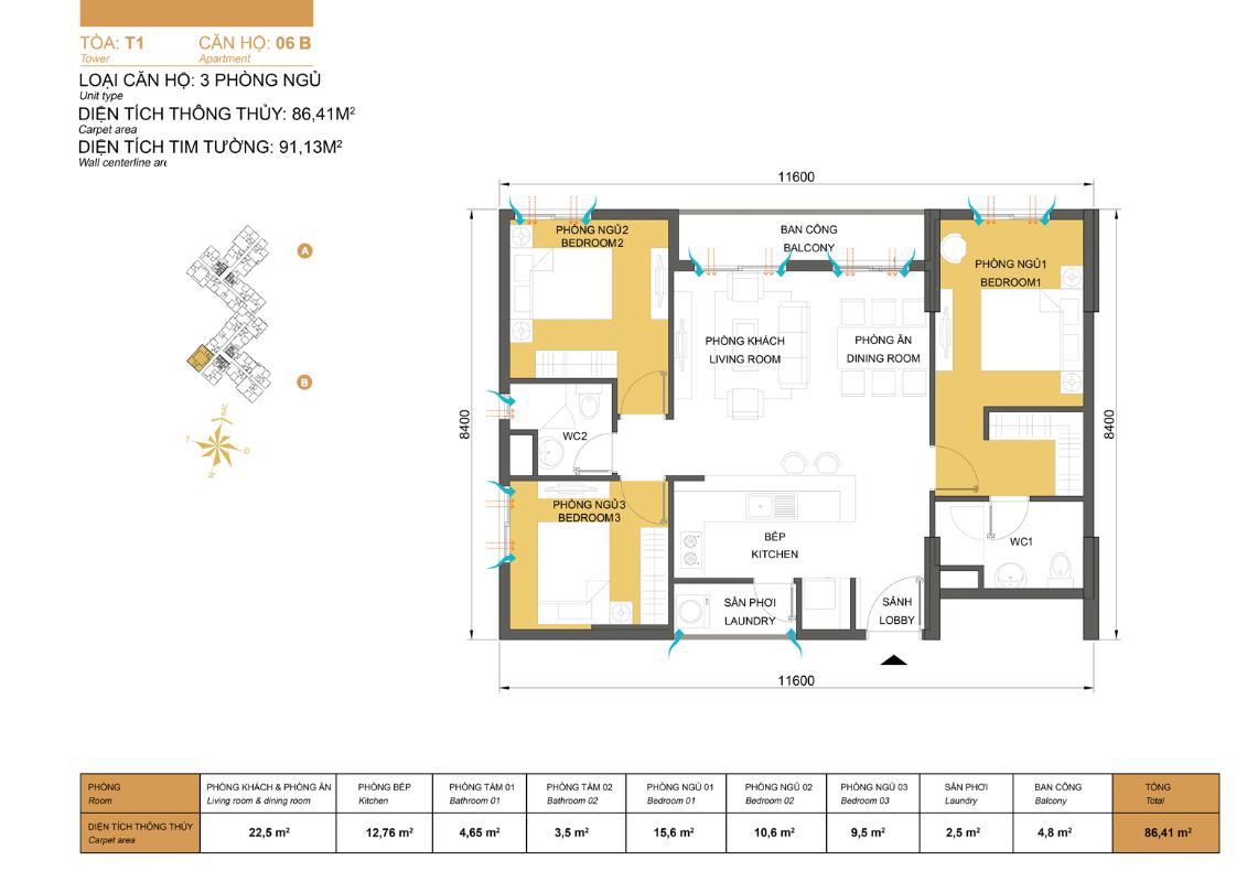 Bản vẽ căn góc 91,1m2 T1 Masteri Thảo Điền Căn góc tầng cao T1A Masteri Thảo Điền