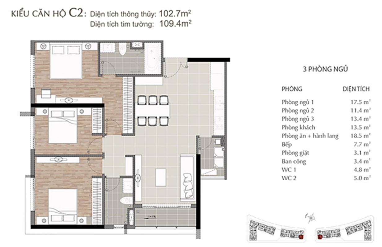 Mặt bằng căn hộ 3 phòng ngủ Sarimi B1-02 Căn hộ Sarimi tầng thấp B1 hướng  Tây Nam, 3 phòng ngủ