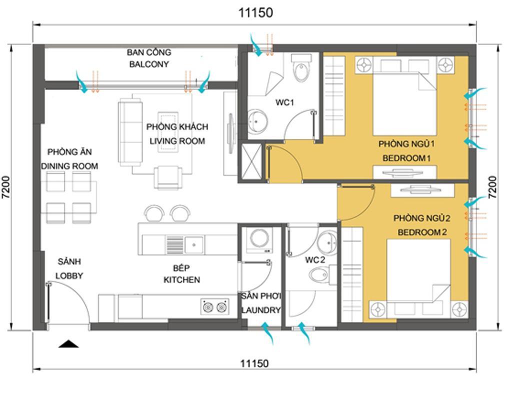 Căn góc 2 phòng ngủ T4B-06 Căn góc tầng cao hướng Đông Nam T4B Masteri Thảo Điền