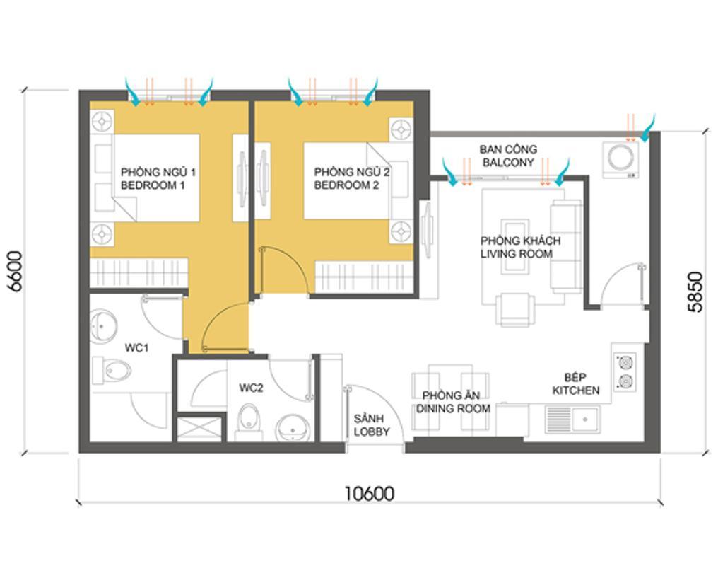 Căn hộ 2 phòng ngủ T1A-10 Căn hộ hướng Đông Bắc trung tầng T1A Masteri Thảo Điền