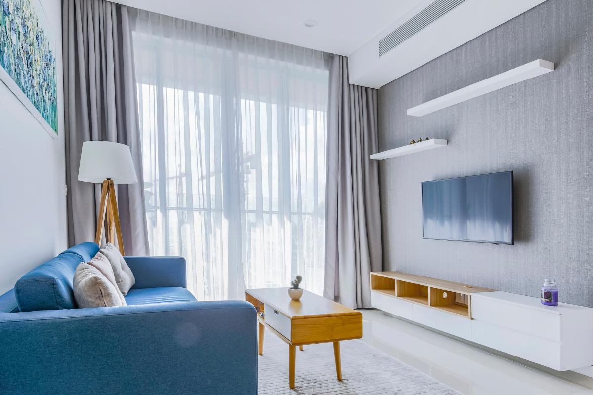 Không gian phòng khách rộng rãi và thoáng đãng Bán căn hộ Sarimi Sala Đại Quang Minh 87m2, 2PN 2WC, nội thất tiện nghi