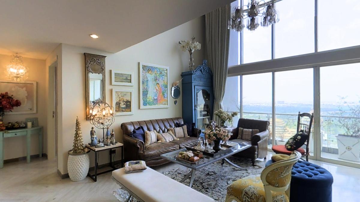 Phòng khách xa hoa với thiết kế đậm chất vương giả Penthouse 4B The Estella An Phú
