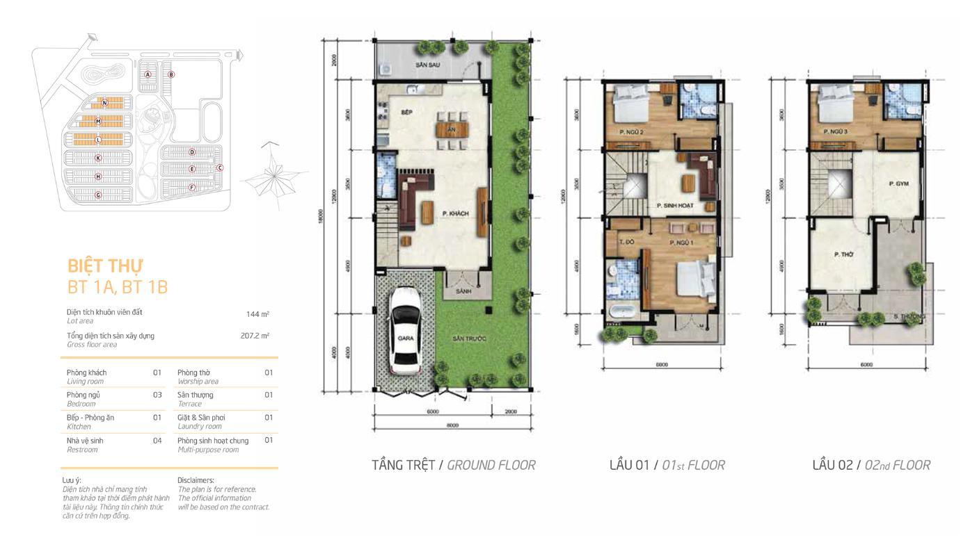 Mặt bằng biệt thự Melosa L31 Villa Melosa Garden hướng Bắc, 3 tầng hiện đại