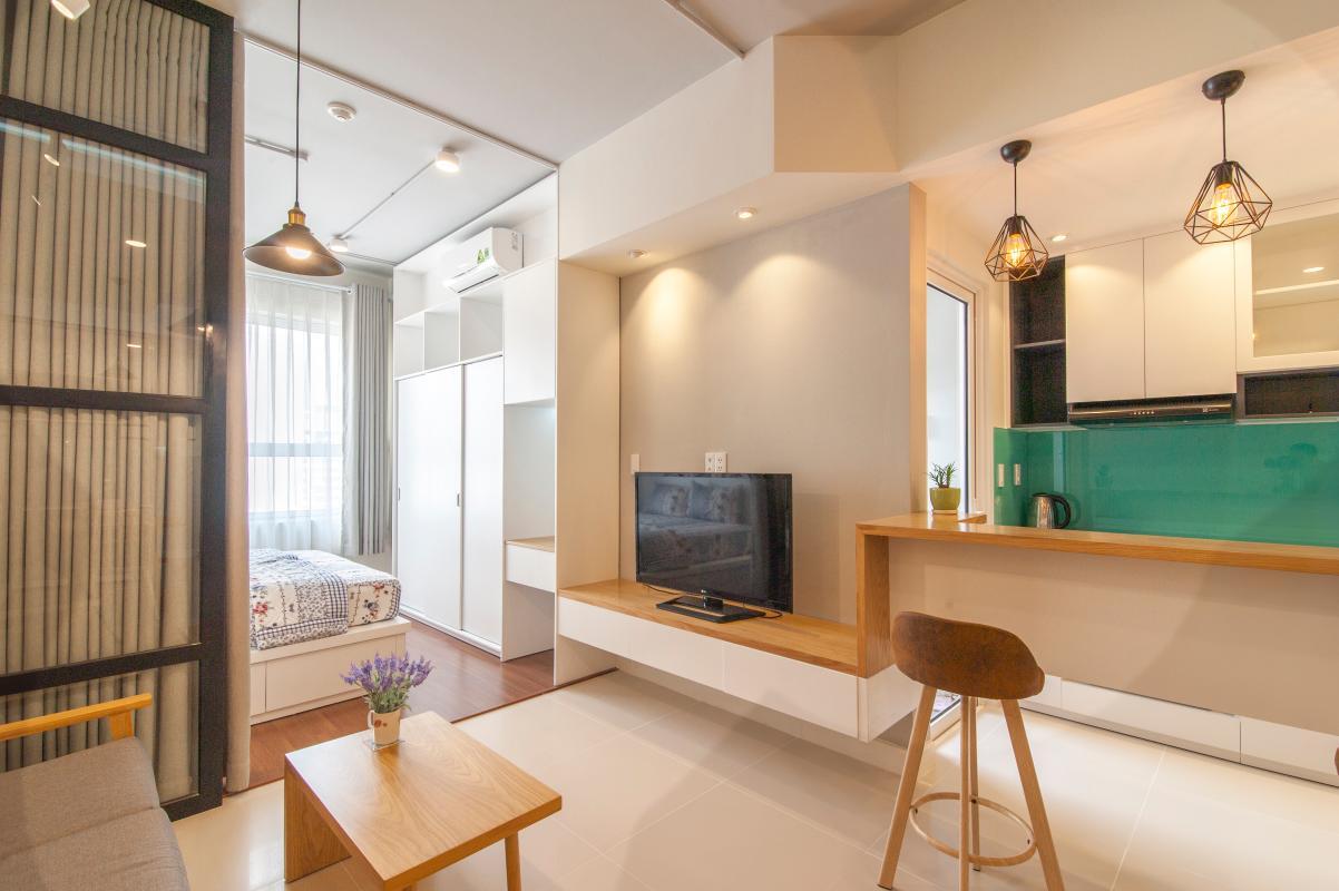 Tủ kệ TV phòng khách kết hợp quầy bar phòng bếp Căn hộ tầng cao LC Lexington An Phú