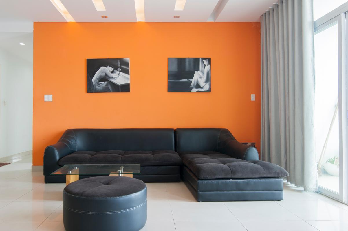 Nội thất phòng khách sang trọng, hiện đại Căn góc tầng cao B Satra Eximland